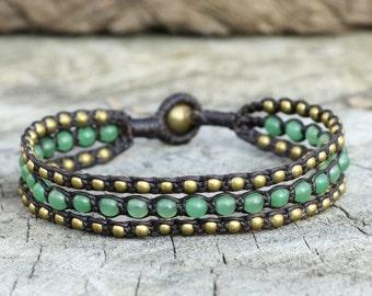 Jade Layer Brass Triple Bracelet