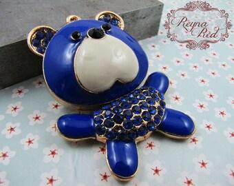 Teddy Bear Enamel & Rhinestone Pendant, stuffed bear pendant, teddy bear pendant, blue bear, enamel bear focal - reynared supplies