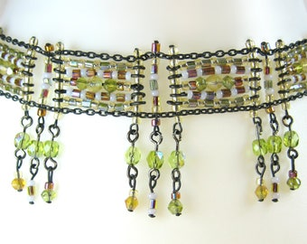 Sparkling Warm Autumn Olive Peridot Green Rust Bronze Pewter Chain Intricately Beaded Collar Choker Necklace