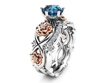 14k White Gold Floral Wedding Ring Bridal Set 1ct Blue Topaz Engagement Ring Diamond Wedding Band