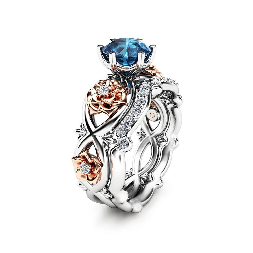 Wedding Rings Flowers: 14k White Gold Floral Wedding Ring Bridal Set 1ct Blue Topaz