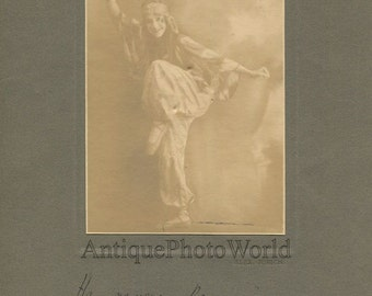 Beautiful Russian dancer in Art Deco costume antique hand signed photo