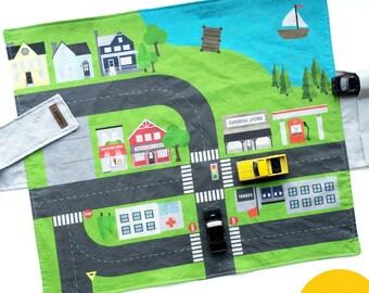 City Travel Car Mat - Canary Yellow Backing   Kids Travel Activity   Play Car Mat