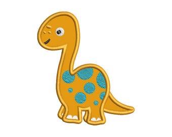 Dinosaur Applique Embroidery Design - Instant Download