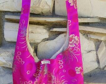 Hot, hot pink Asian print hobo bag. Reversible, across the body hobo bag. Chinese brocade hobo bag, Chinese brocade handbag, Asian floral.
