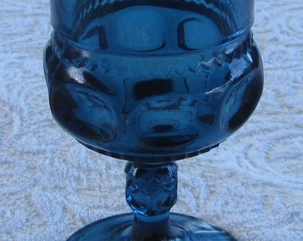 4  Indiana Glass Kings Crown Goblets, Thumbprint, Teal Blue Goblets, Set of 4 ( 2 sets available)