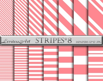 Coral Striped Digital Paper  - White Coral Background - White Pink Striped Digital Papers - Geometric Red Paper - Striped Coral Backgrounds