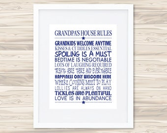 Grandpa's House Rules Father's Day Print