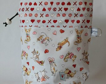 Small drawstring project bag puppy love