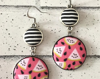 Watermelon Fabric Button Earrings, Neon Pink, Statement Earrings, Fruit fabric, Wedding Accessories, Black and White Stripes, Sale