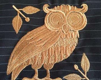 Owl Embroidery Design: Terry Cloth or Flour Sack Tea Towel