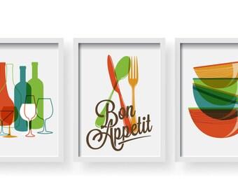 Modern Colorful Bon Appetite Kitchen decor, Kitchen wall art, Kitchen prints, Kitchen, Kitchen poster, Kitchen Set of 3 prints, Dining room