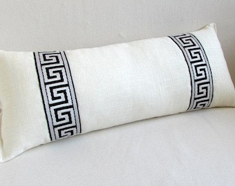 Linen lumbar pillow cover with Greek key trim  ,decorative cushion cover,all size