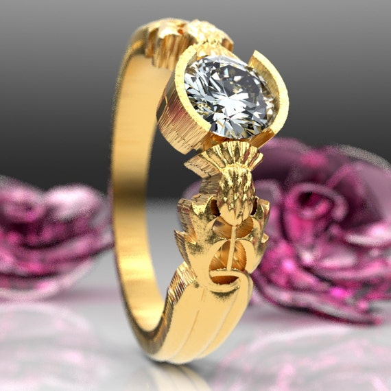 Thistle Engagement Ring, 10K 14K or 18K Gold & Moissanite, Scottish Solitare, Floral Wedding, Handcrafted Rings, Platinum or Palladium 5062