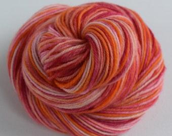 Hand Dyed Yarn, Super-wash Merino, Grapefruit.