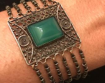"""Antique Victorian Chalcedony Filigree Bracelet 6.75""""x1.25"""""""