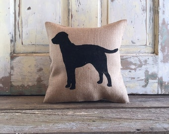 Burlap Pillow - Labrador Pillow | Dog Pillow | Lab Pillow | Dog Decor | Lab Decor | Father's Day Gift | Man Cave Decor | Gift for Mom |