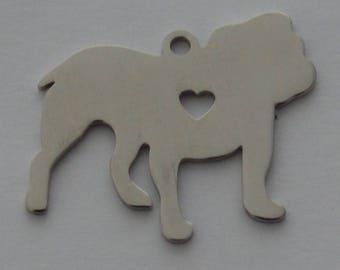 Matte silver color steel 28x27mm English Bulldog Pendant 1