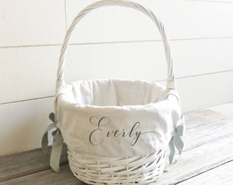 Girls easter basket etsy personalized easter basket liner customized easter basket liner easter monogram negle Images