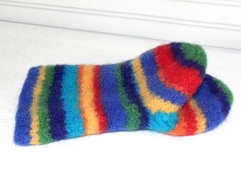 Rainbow Wool Oven Mitt, Universal Fit Oven Mitt, Wool Oven Glove, Wool Felt Oven Mitt, Knit and Felted Oven Mitt, Hostess Gift, Chef Gift