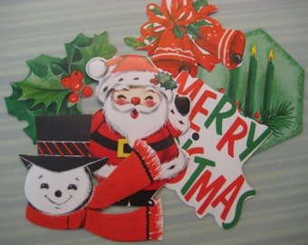 Vintage Christmas Sticker Lot / Gummed Seals / Holiday Stickers / Hallmark / Santa Claus / Snowman / Candles / Bells / Holly / Die Cut