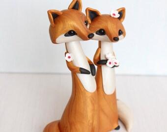 Fox Wedding Cake Topper - woodland wedding cake topper - animal wedding - clay figurine by Heartmade Cottage