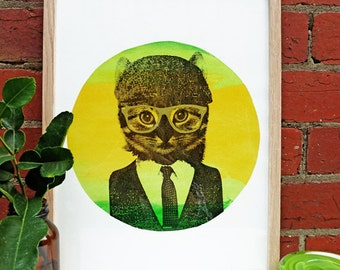 Hand screen printed 'Le Citron Cat' (A3) art print
