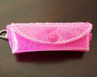 Chapstick, Lip Balm Holder,  Lobster Clasp Clip, Snap Closure, Vinyl in Your Choice of Colors & optional personalization!