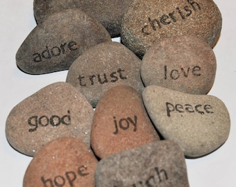 Positive affirmation stones, set of 10