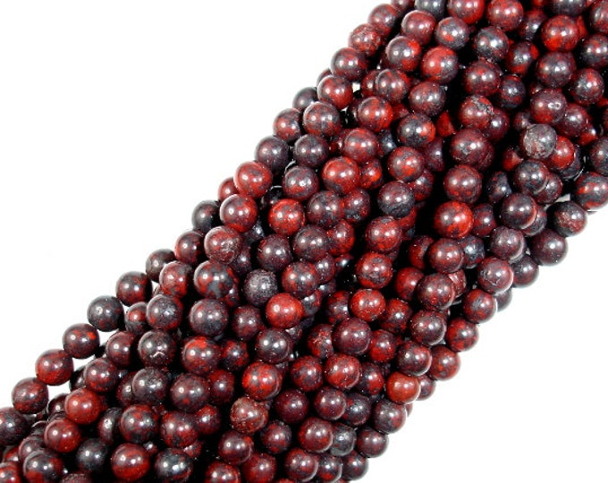 Brecciated Jasper Beads, Round, 4mm, 15.5 Inch, Full strand, Approx 95 beads, Hole 1 mm (334054003)