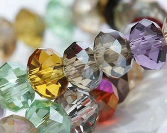 Multicolored 6 * 8mm faceted glass beads
