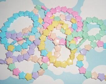 Bulk order 50 Fairy Kei Pastel Candy Stars Beaded Bracelets