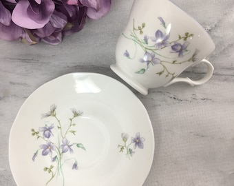 Violets by Crown Trent Purple Flowers Tea Cup and Saucer Fine Bone China Vintage England Made Lovely Multiples