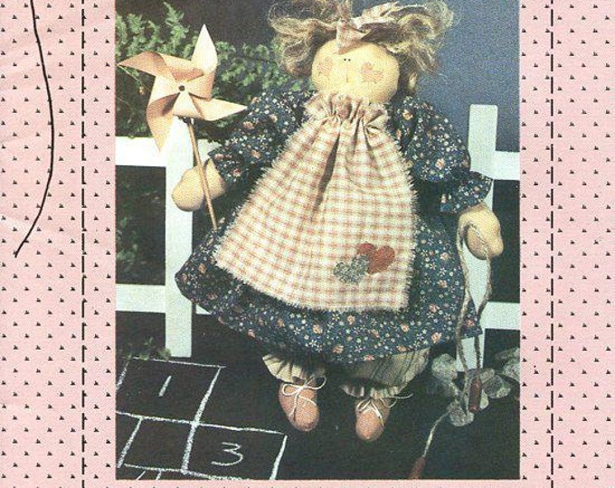 """FREE US SHIP Country Stitches Schools Out 12"""" Doll Primitive Uncut 1991 Craft Sewing Pattern Folk Art"""