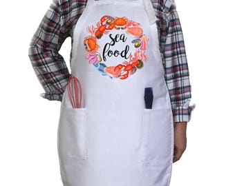 Seafood Lover Apron. Kitchen Apron. Funny Apron. Custom Apron. Gift For Her. Housewarming Gift.