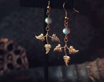 Gilded Leafling Earrings Antique Brass Labradorite Elven Fantasy Wedding 2 1/4 inches