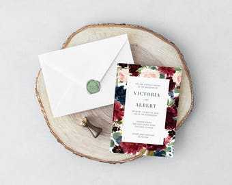 Burgundy Botanical Wedding Invitation and RSVP // Navy Blue Blush Pink Watercolor Floral Invitations Minimalist Modern Elegant Romantic