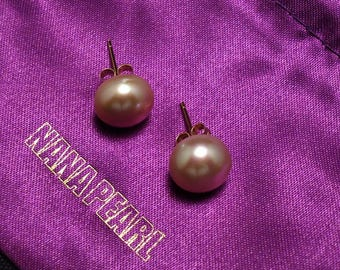 Pink Freshwater Pearl Earrings, Gold Plated Pearl Stud, 10 mm Pearl Button