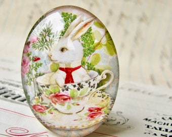 Bunny in a teacup, glass oval cabochon, 40x30mm or 25x18mm, handmade in this shop, white rabbit, pink roses, tea time, green spring picnic,