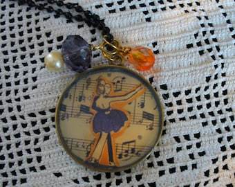 Dance to the Music, Bead Chain Necklace, Resin, Crystal and Pearl Accents, Dance Necklace, MarjorieMae, Music Necklace