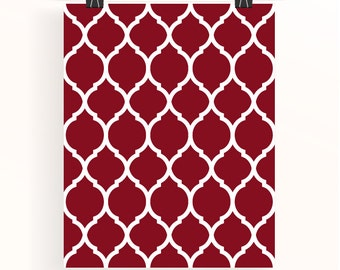 Maroon moroccan print - red geometric pattern poster - red home wall art - home decor - home office wall art - geometric poster - uk seller