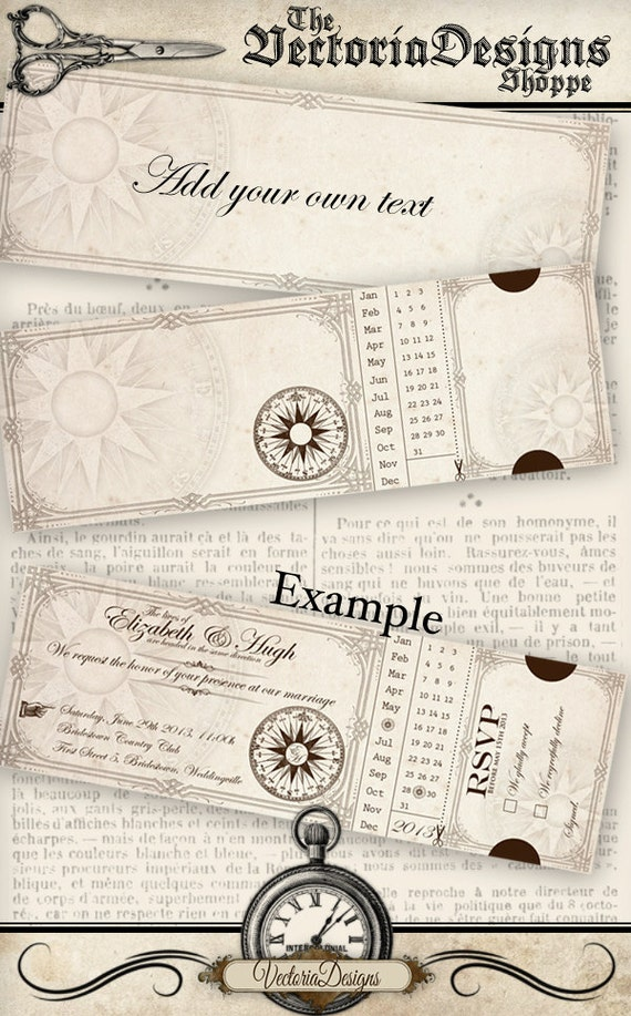 Printable Steampunk Wedding Invitation 7.5 x 2.5 inch