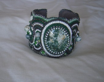 Tree agate bead embroidery cuff bracelet