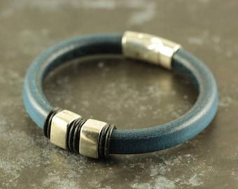 Mens Leather, Magnetic Bracelet, Navy Leather Bracelet, Men Leather Bracelet, Bohemian Bracelet, Mens Gift, Regaliz Leather, Cuff Bracelet
