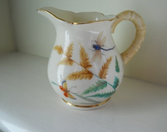 Early Graingers Worcester cream/milk pitcher with insects and butterflies c. 1850