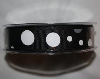 30 Yard Spool  - 7/8 Inch Grosgrain / Bubble Dots Ribbon -  355-10 BLACK/WHITE/GRAY