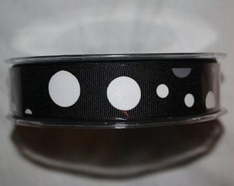 5 Yards  - 7/8 Inch Grosgrain / Bubble Dots Ribbon -  355-10 BLACK/WHITE/GRAY
