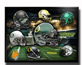 Oregon Ducks Football Poster Head Gear Authentic Team Spirit Store Product