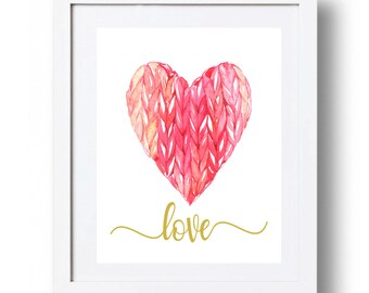 Valentines day printable wall decor Nursery Heart printable Hot pink heart art print Pink and gold Love print Watercolor heart DOWNLOAD