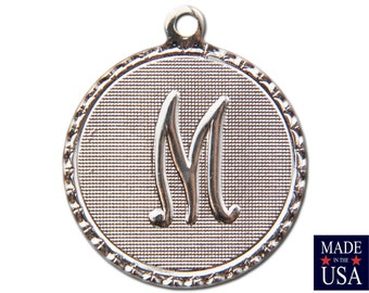 Silver Plated M Letter Charm Drop with Loop (1) chr221M